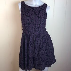 3/$27 Twenty One Purple Black Floral Skater Dress